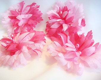 """PINK Flowers Lot of (4) Magenta Vintage Millinery flowers 3"""" diameter MORE AVAILABLE 3881"""