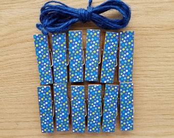 Nautical Navy Circus Party Polka Dots Clips w Twine for Photo Display - Chunky Little Clothespin Set of 12