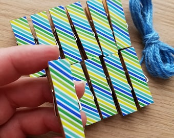 Summer Birthday Boy Preppy Skinny Stripes w Twine for Photo Display - Chunky Clothespin Clips Set of 12 - First Birthday Baby Shower Gifts