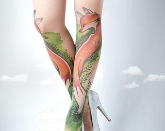 ON SALE/// Tattoo Tights, Fox Tights nude Closed Toe one size full length printed tights, pantyhose, nylons, tattoo socks