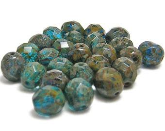 Fire Polished Beads - 8mm Fire Polished - Czech Picasso Beads - Czech Glass Beads - 8mm Beads - Czech Beads - 25pcs (B584)