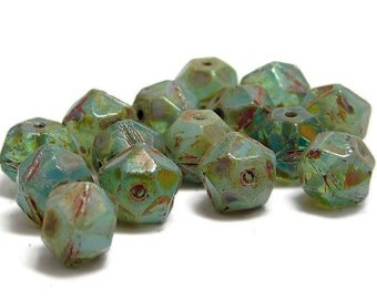 English Cut Beads - Czech English Cut - Czech Glass Beads - Czech Picasso Beads - Round Beads - Rough Cut - Faceted - 15pcs (5338)