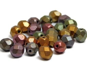 Fire Polished Beads - 6mm Beads - Bronze Beads - Round Beads - Czech Glass Beads - Metallic Beads - 25pcs (4230)