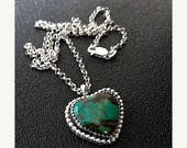 ON SALE Sterling Turquoise Heart Necklace, Turquoise Heart Pendant, Artisan Sterling Heart