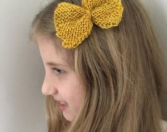 Yellow Wool Bow Barrette