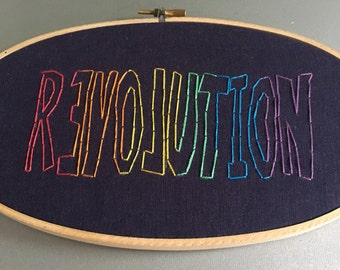 revolution - hand embroidered hoop art wall hanging