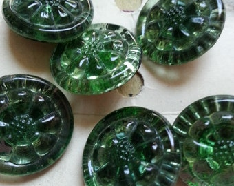 "Bea West Pin Flower SIX Glass Buttons. Vintage. Measure just under 3/4""."