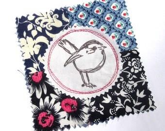 Fabric Patch, Quilt Block, Applique - Sweet Bird
