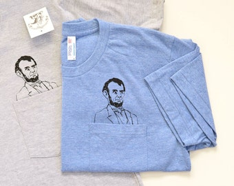 Mens Pocket Abe Tee - Screen Printed / Grey or Blue / American Apparel / Abraham Lincoln