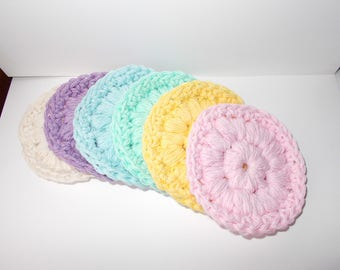 Cotton Face Scrubbies, Face Cloth, Face scrubbers, Makeup Pad Removers, Bath and Body, Textured Bumpy,Set of 6, Eco Friendly,Pastels