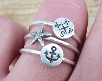 Beach Ring Travel Ring Sterling Silver Hammered Ring with Anchor Starfish Compass Add On Stackable