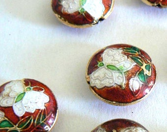 6 18mm Handmade Cloisonne Beads Bead Round Butterfly Flower Red