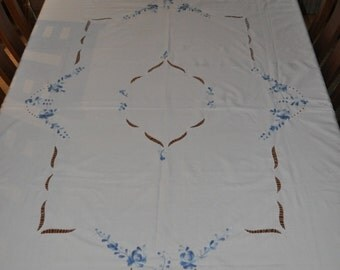 """Beautiful embroidered, crochet edging cutwork  white tablecloth with blue embroidery cotton 58"""" x 92  All profits go to charity"""