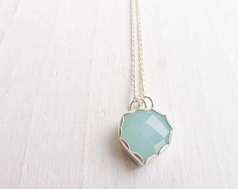 Aqua Chalcedony Necklace Spade Pendant Sterling Silver Gifts for Her Gemstone Jewelry