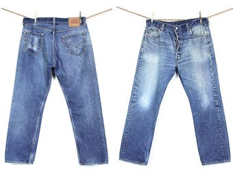 """90s Levi's 501 Jeans Vintage Distressed High Waist Button Fly 501s Medium Wash Denim Worn Thrashed Faded Made in USA Unisex 35.5"""" x 29.25"""""""