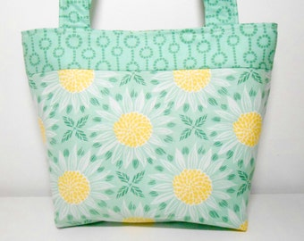 Green and Yellow Flower Purse, Medium Mint Green Fabric Tote Bag