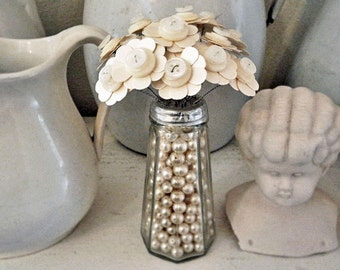 Button Bouquet in Faux Pearl Bead Filled Salt Shaker Shabby White Wedding Favor Decor