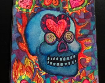 Zentangle Pattern Blue Skull With Flaming Hearts Colorful Psychedelic Watercolor