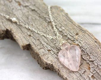 Carved Rose Quartz Leaf and Pearl Silver Necklace