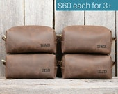 Groomsmen Gifts - Stone Oiled Leather Toiletry Bag with Monogram - 15% discount for orders of 3+ - wedding gift groomsmen groom