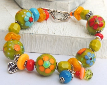 GROWTH SPURT Handmade Lampwork Bead Bracelet