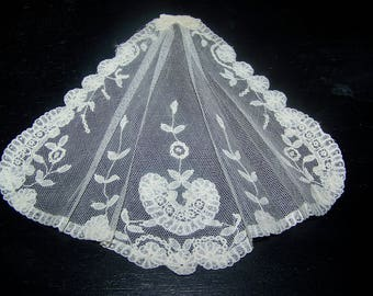 Antique Handmade Princess  Net Lace Jabot