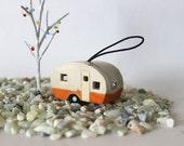 Tiny Vintage Trailer - handmade pottery, ornament