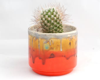 Round ceramic Planter - Succulent Planter- Handmade Planter - Desert Sunset Colors - Ceramics and Pottery- Modern Ceramics