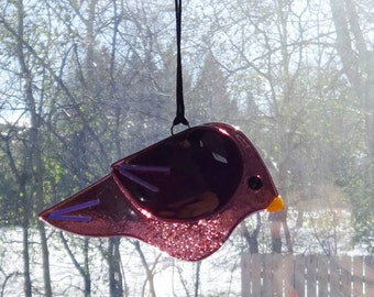 Fused Glass Bird Suncatcher, Purple Fused Glass Bird, Garden Art, Purple Stained Glass Bird Suncatcher, Purple Bird Ornament