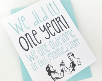 First Anniversary Card.  One Year Anniversary Card. Made in the Midwest. Anniversary Card for Wife. Anniversary Card for Husband. 1st Anniv.