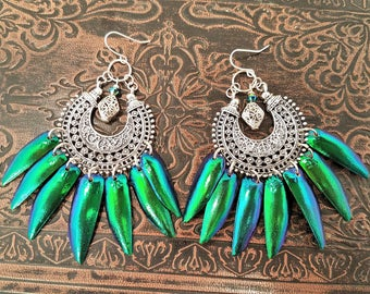 Discs of the Moon Emerald Green Jewel Beetle Wing Chandelier Earrings