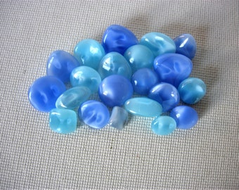 Pretty Lot of Various Vintage Blue Moon Glow Glass Buttons