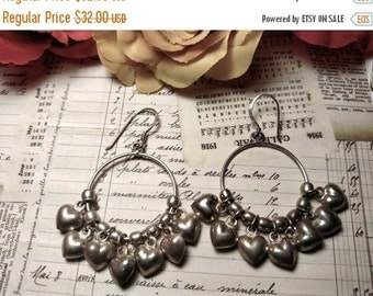Winter Sale 1980s Vintage Long Sterling Silver Puffed Puffy Heart Cluster Chandelier Circle Earrings Pierced Charms