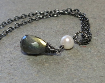 Labradorite Necklace White Pearl Pendant Oxidized Sterling Silver Gift for Wife Green Blue Flash