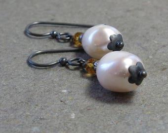 White Baroque Pearl Earrings Citrine Oxidized Sterling Silver November, June Birthstone Earrings