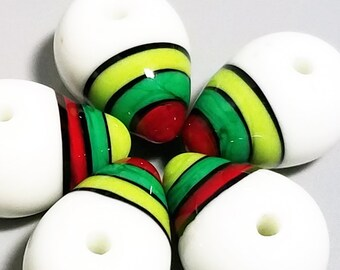 Holiday Drops --Handmade Lampwork Beads