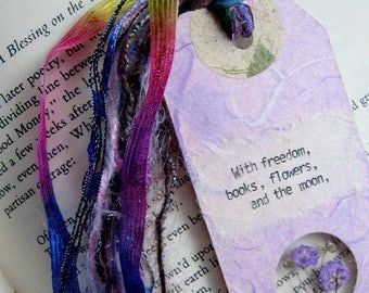 With freedom, books, - Earth Bookmark - handmade paper, pressed flower, gypsophila, book lover, reader, librarian, teacher gift, grad gift