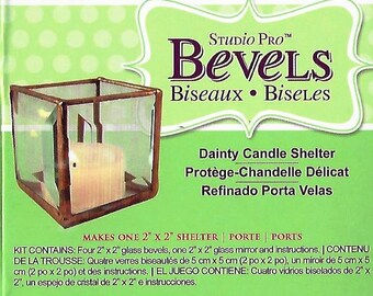 Dainty Candle Shelter KIT includes Clear Beveled Glass, Mirror bottom & Instructions (you supply foil,solder,flux,glue etc.)