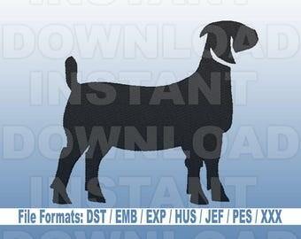 Farm Boer Goat Machine Embroidery Design -Livestock Design -4H Design- Filled Stitch -4X4 Hoop- PES File,JEF File,HUS File,dst File,exp File
