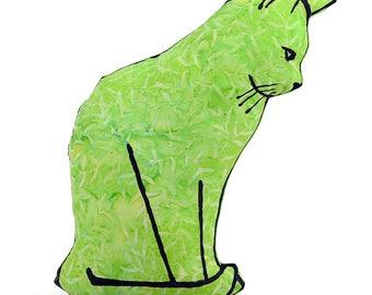 decorative pillow, cat pillow, animal pillow, cat pillow, cat profile shaped medium pillow kitty shaped lime green batik fabric