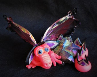 Hot Pink Dragon and a Rock - OOAK ELEMENTAL DRAGONS