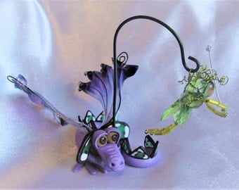 Dragon Fishing for Fairies - OOAK ELEMENTAL DRAGONS