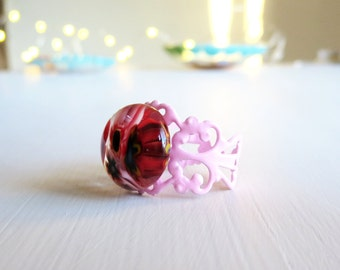 Fused Glass Millefiori Cocktail Ring Adjustable Filigree - Boho Red and Pink Handmade Ring