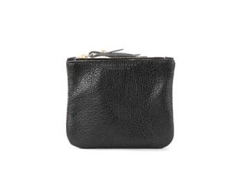 Leather Pouchette- Metallic Black