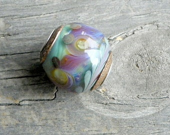Handmade Large Hole Art Glass Bead . Turquoise . Lampwork Glass . Sterling . Copper . Julie Nordine . Credit River Art Glass . BHB127