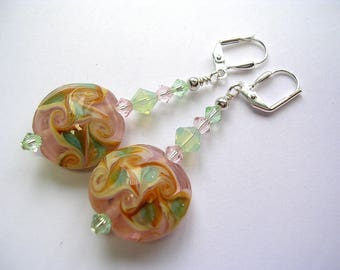 Green and Pink Lampwork Earrings Chrysolite and Swarovski Crystal Rose Leverback Hooks Wire Wrapped Gift Boxed