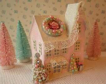 Shabby PINK Putz House - Bottle Brush Trees, Wreath, Lighted, Glitter, Lace, OOAK!