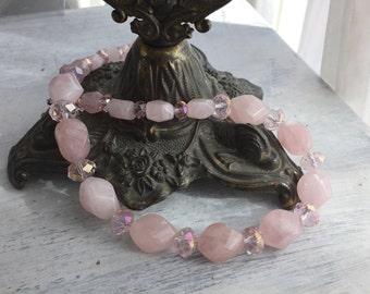 Healing Rose - Rose Quartz Nugget Necklace, heart chakra jewelry