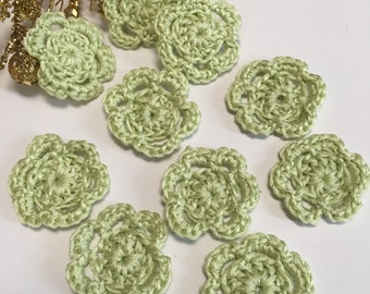 Tiny Pale Green crochet flowers, Pale Green collection, Miniature