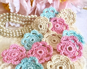 Crochet Shabby Flower Collection,  Set of 30,  crochet flowers, Blue, Pink, Cream, Wedding Flowers, Flower Decorations, Mothers Day,